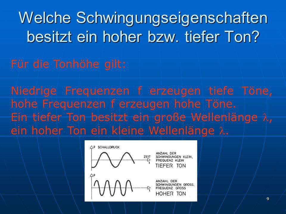 Ing. G. Kulle 9 Welche Schwingungseigenschaften besitzt ein hoher bzw. tiefer Ton? Für die Tonhöhe gilt: Niedrige Frequenzen f erzeugen tiefe Töne, ho