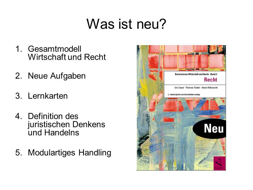 Was ist neu? 1.Gesamtmodell Wirtschaft und Recht 2.Neue Aufgaben 3.Lernkarten 4.Definition des juristischen Denkens und Handelns 5.Modulartiges Handli