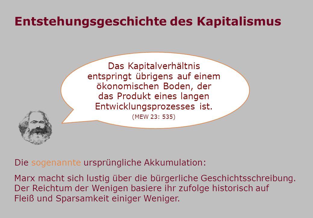 Entstehungsgeschichte des Kapitalismus Das Kapitalverhältnis entspringt übrigens auf einem ökonomischen Boden, der das Produkt eines langen Entwicklungsprozesses ist.