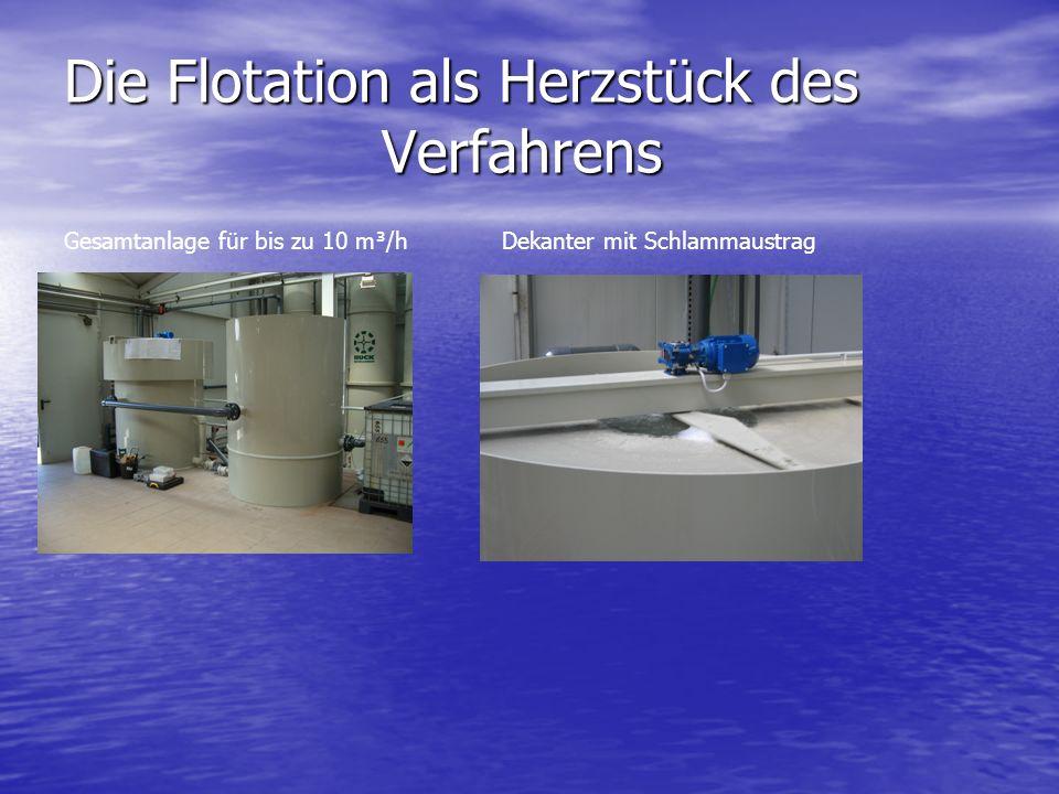 Die Flotation als Herzstück des Verfahrens Gesamtanlage für bis zu 10 m³/h Dekanter mit Schlammaustrag