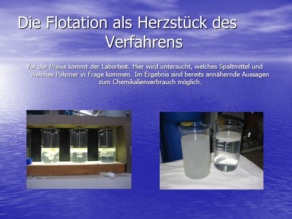 Die Flotation als Herzstück des Verfahrens Vor der Praxis kommt der Labortest.