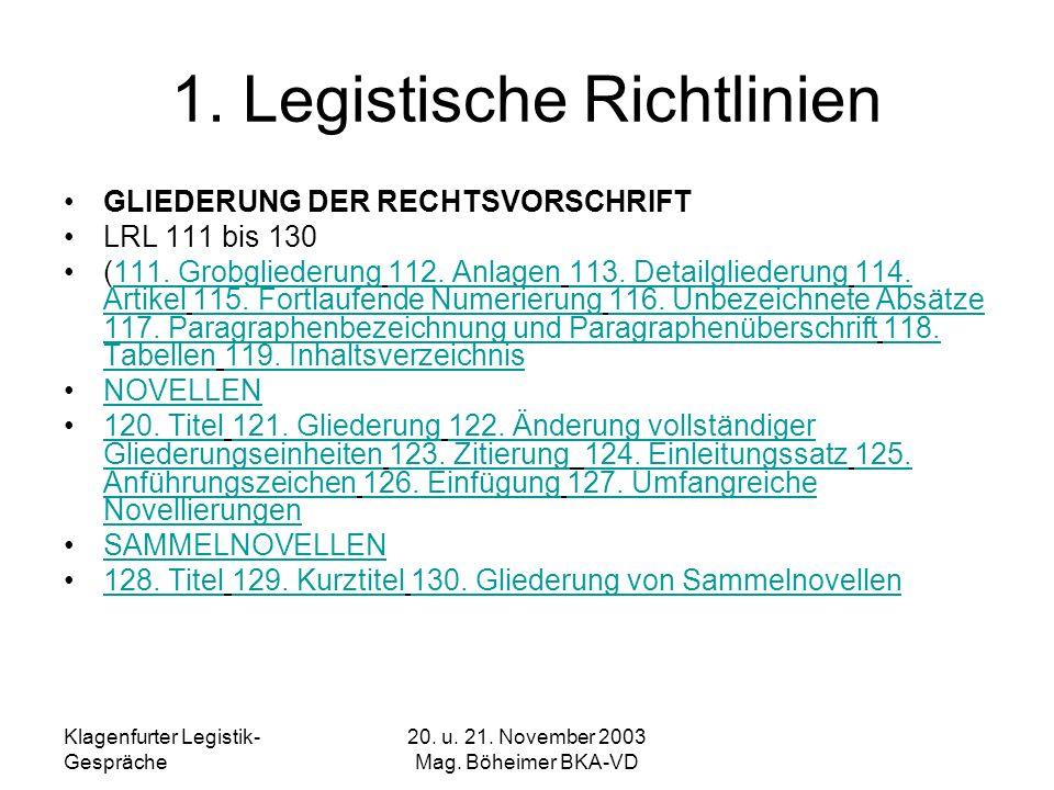 Klagenfurter Legistik- Gespräche 20. u. 21. November 2003 Mag. Böheimer BKA-VD 1. Legistische Richtlinien GLIEDERUNG DER RECHTSVORSCHRIFT LRL 111 bis