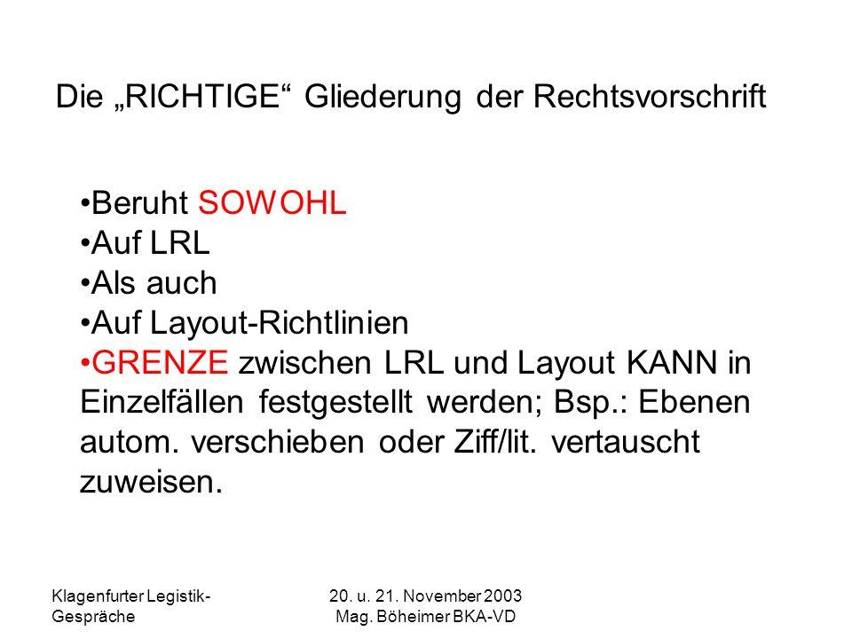 Klagenfurter Legistik- Gespräche 20. u. 21. November 2003 Mag. Böheimer BKA-VD Die RICHTIGE Gliederung der Rechtsvorschrift Beruht SOWOHL Auf LRL Als