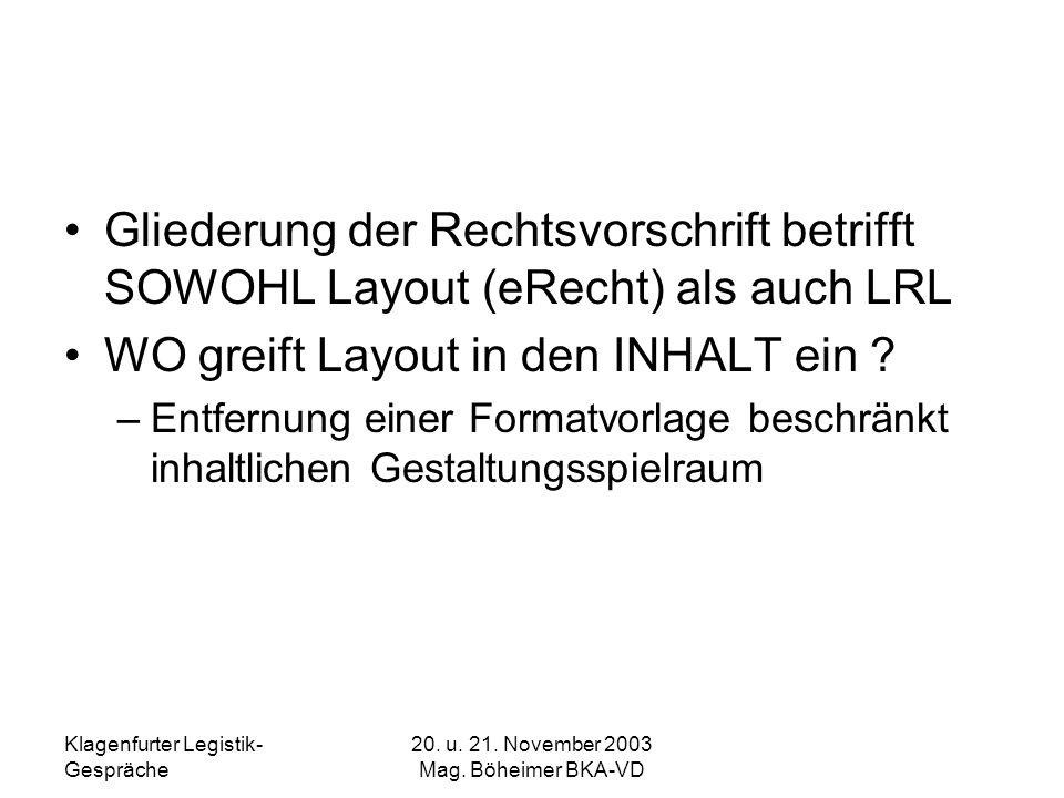 Klagenfurter Legistik- Gespräche 20. u. 21. November 2003 Mag. Böheimer BKA-VD Gliederung der Rechtsvorschrift betrifft SOWOHL Layout (eRecht) als auc