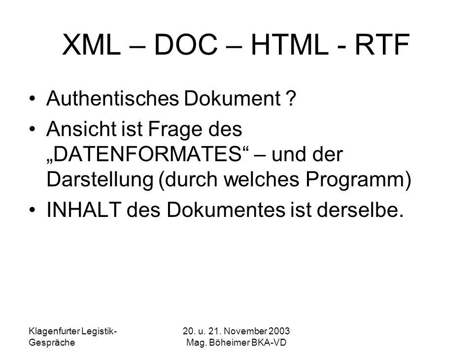 Klagenfurter Legistik- Gespräche 20. u. 21. November 2003 Mag. Böheimer BKA-VD XML – DOC – HTML - RTF Authentisches Dokument ? Ansicht ist Frage des D