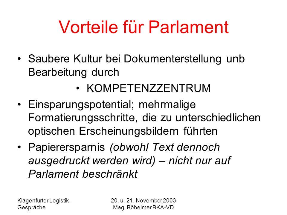 Klagenfurter Legistik- Gespräche 20. u. 21. November 2003 Mag. Böheimer BKA-VD Vorteile für Parlament Saubere Kultur bei Dokumenterstellung unb Bearbe
