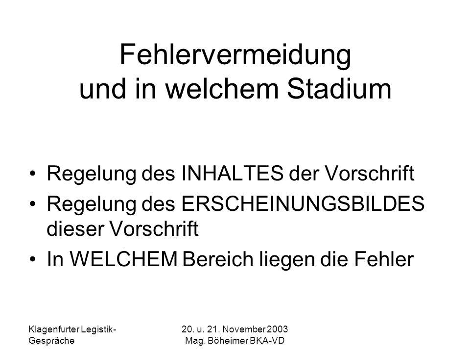 Klagenfurter Legistik- Gespräche 20. u. 21. November 2003 Mag. Böheimer BKA-VD Fehlervermeidung und in welchem Stadium Regelung des INHALTES der Vorsc