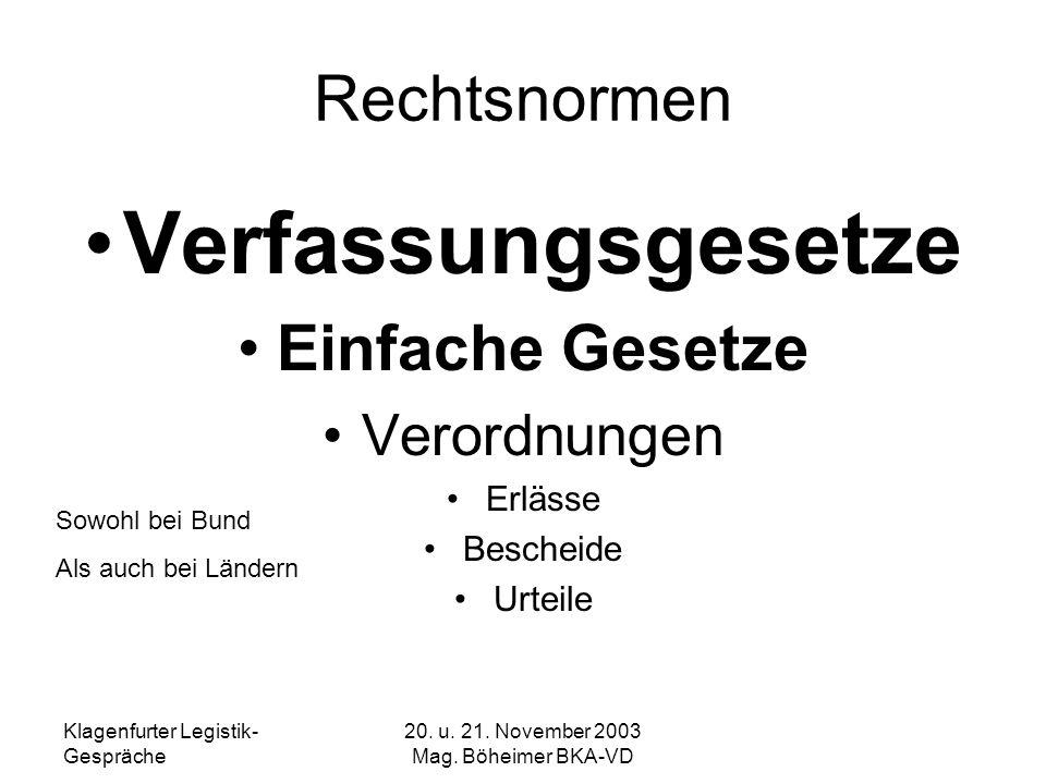 20. u. 21. November 2003 Mag. Böheimer BKA-VD Rechtsnormen Verfassungsgesetze Einfache Gesetze Verordnungen Erlässe Bescheide Urteile Sowohl bei Bund