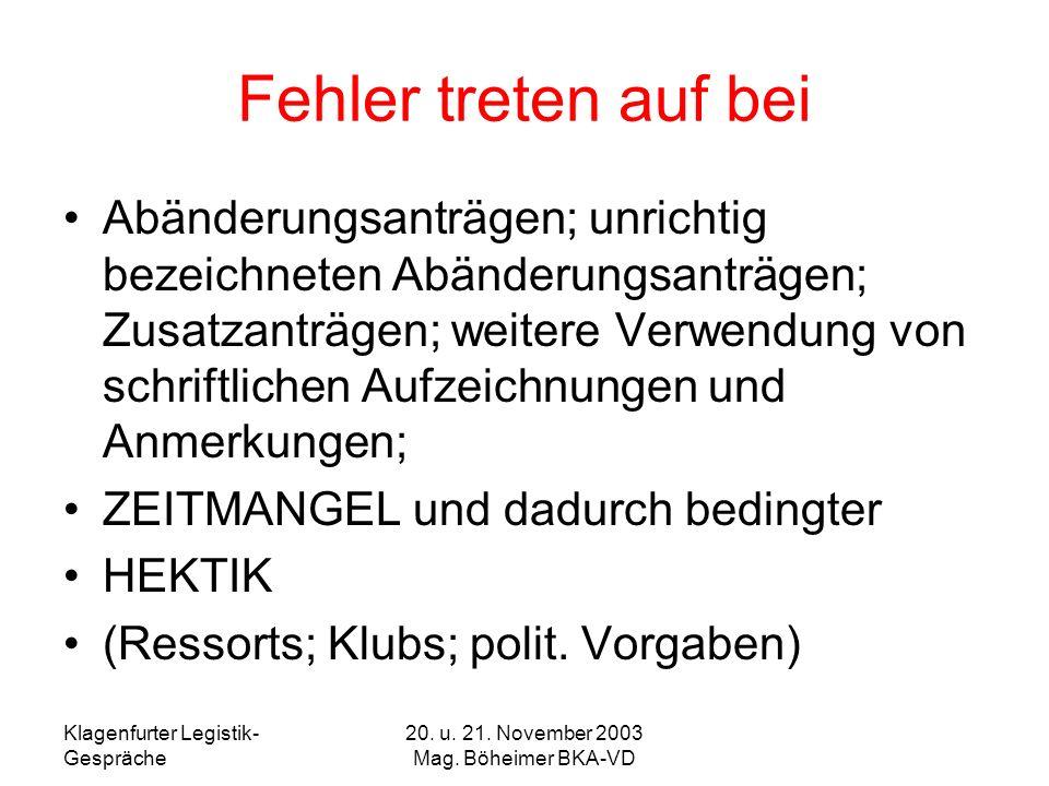 Klagenfurter Legistik- Gespräche 20. u. 21. November 2003 Mag. Böheimer BKA-VD Fehler treten auf bei Abänderungsanträgen; unrichtig bezeichneten Abänd