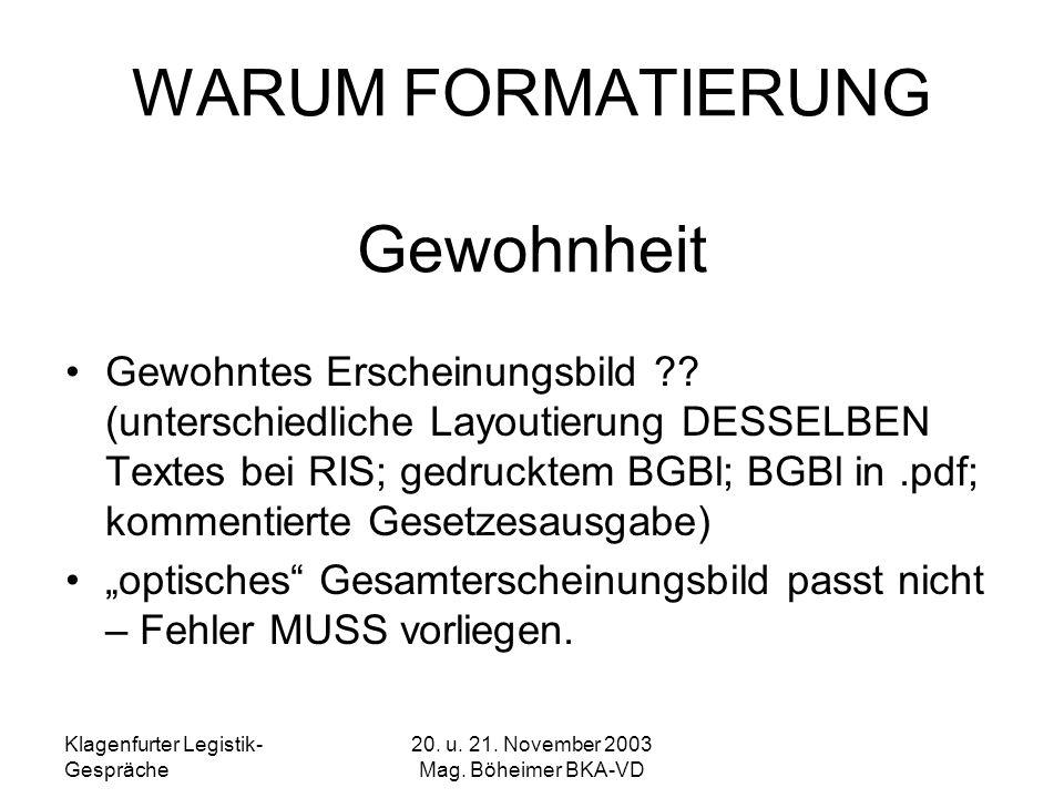 Klagenfurter Legistik- Gespräche 20. u. 21. November 2003 Mag. Böheimer BKA-VD WARUM FORMATIERUNG Gewohnheit Gewohntes Erscheinungsbild ?? (unterschie