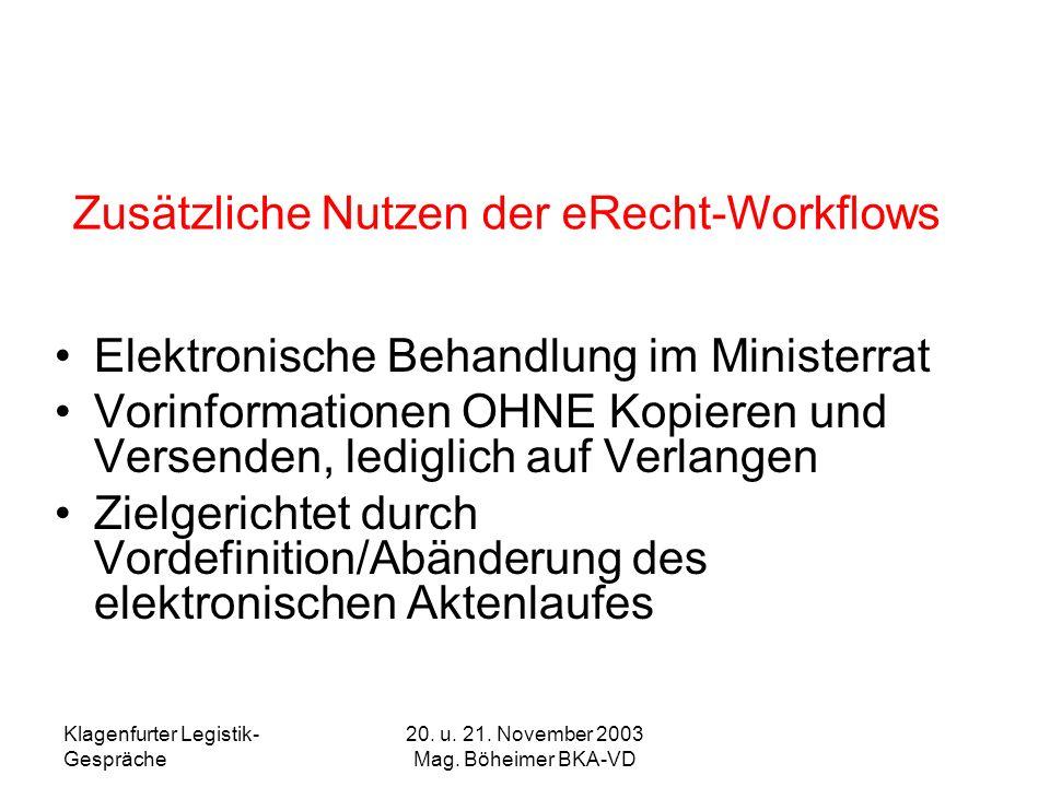 Klagenfurter Legistik- Gespräche 20. u. 21. November 2003 Mag. Böheimer BKA-VD Elektronische Behandlung im Ministerrat Vorinformationen OHNE Kopieren