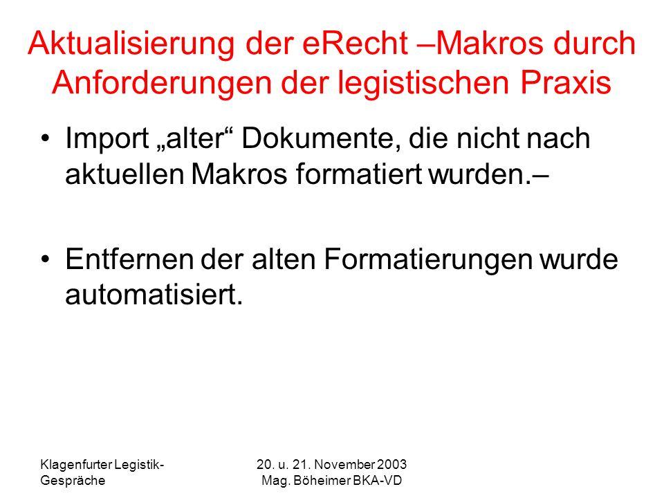Klagenfurter Legistik- Gespräche 20. u. 21. November 2003 Mag. Böheimer BKA-VD Aktualisierung der eRecht –Makros durch Anforderungen der legistischen