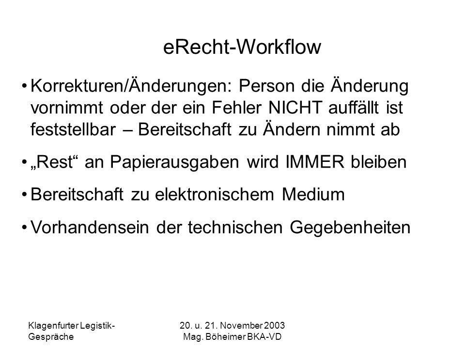 Klagenfurter Legistik- Gespräche 20. u. 21. November 2003 Mag. Böheimer BKA-VD eRecht-Workflow Korrekturen/Änderungen: Person die Änderung vornimmt od