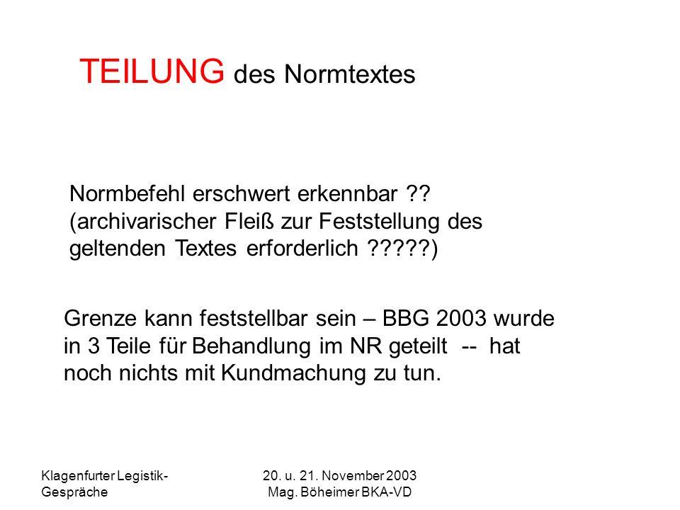 Klagenfurter Legistik- Gespräche 20. u. 21. November 2003 Mag. Böheimer BKA-VD TEILUNG des Normtextes Normbefehl erschwert erkennbar ?? (archivarische