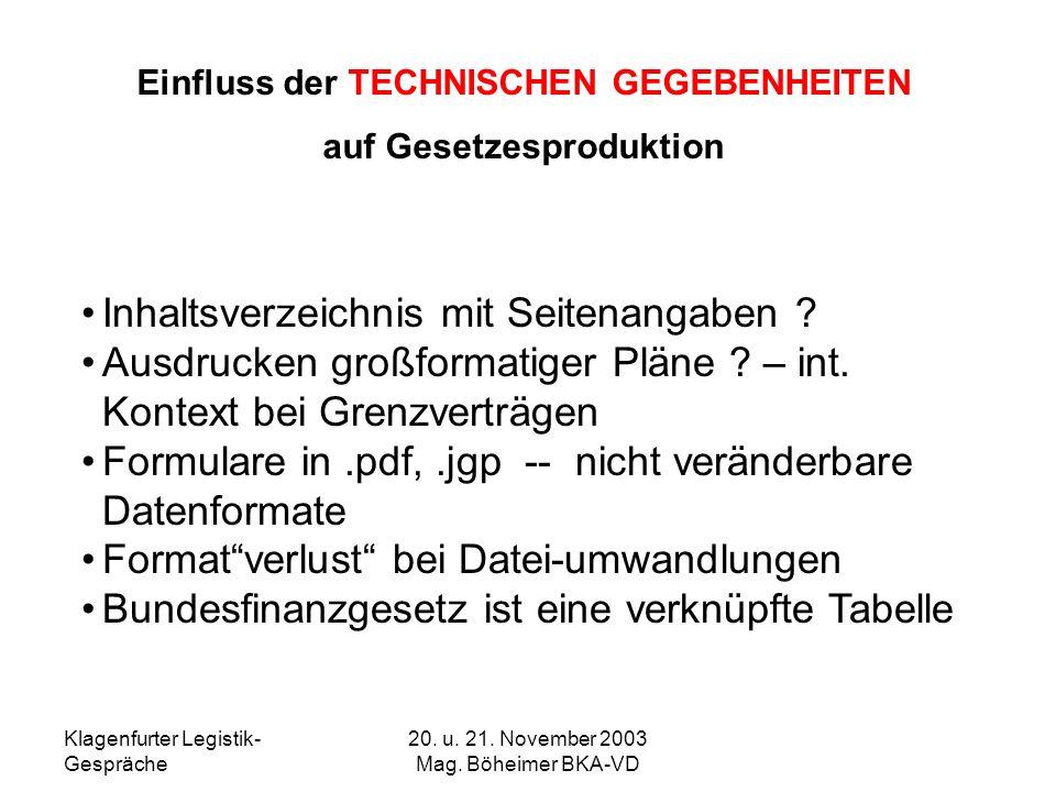 Klagenfurter Legistik- Gespräche 20. u. 21. November 2003 Mag. Böheimer BKA-VD Einfluss der TECHNISCHEN GEGEBENHEITEN auf Gesetzesproduktion Inhaltsve