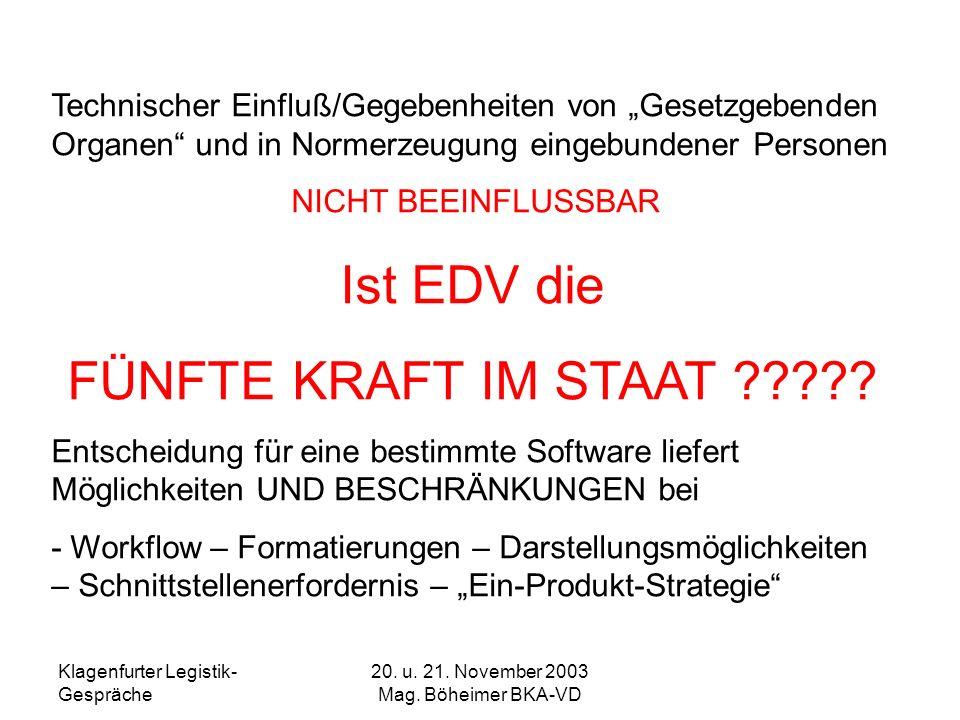 Klagenfurter Legistik- Gespräche 20. u. 21. November 2003 Mag. Böheimer BKA-VD Technischer Einfluß/Gegebenheiten von Gesetzgebenden Organen und in Nor