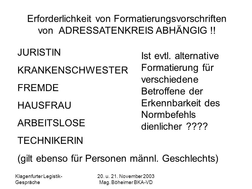 Klagenfurter Legistik- Gespräche 20. u. 21. November 2003 Mag. Böheimer BKA-VD Erforderlichkeit von Formatierungsvorschriften von ADRESSATENKREIS ABHÄ