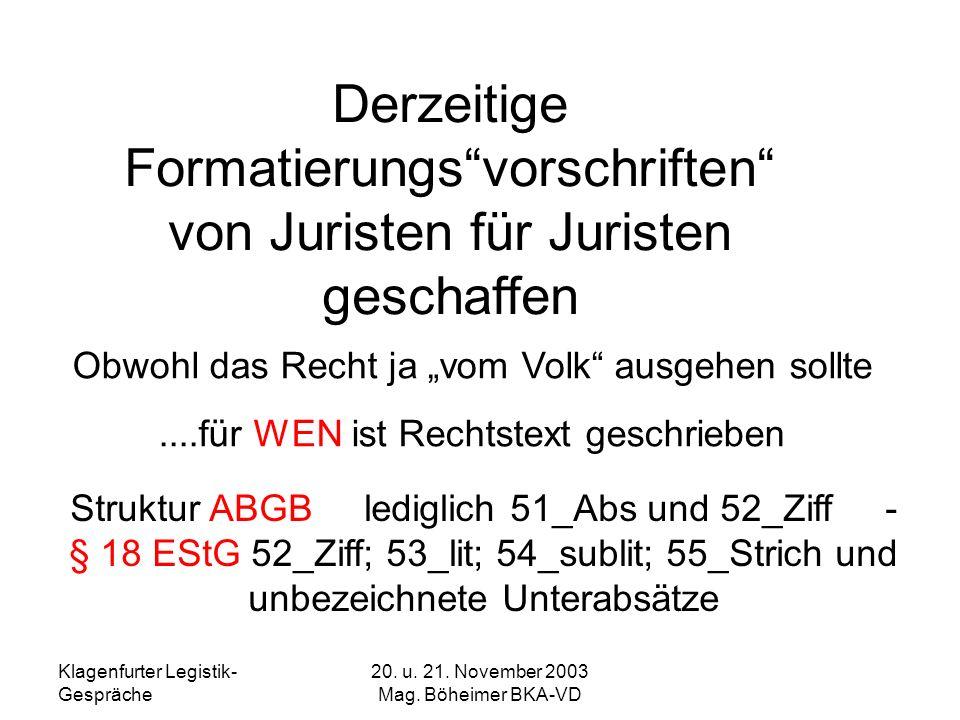 Klagenfurter Legistik- Gespräche 20. u. 21. November 2003 Mag. Böheimer BKA-VD Derzeitige Formatierungsvorschriften von Juristen für Juristen geschaff