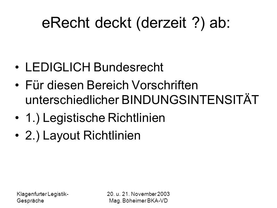 Klagenfurter Legistik- Gespräche 20. u. 21. November 2003 Mag. Böheimer BKA-VD eRecht deckt (derzeit ?) ab: LEDIGLICH Bundesrecht Für diesen Bereich V