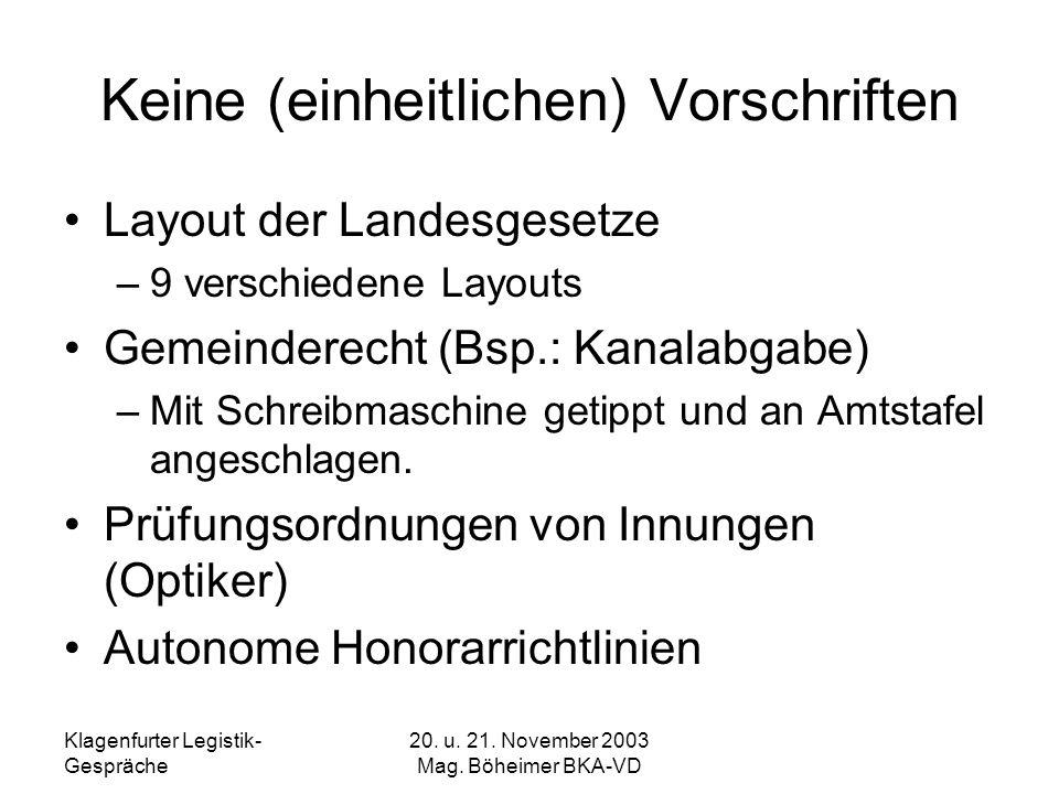 Klagenfurter Legistik- Gespräche 20. u. 21. November 2003 Mag. Böheimer BKA-VD Keine (einheitlichen) Vorschriften Layout der Landesgesetze –9 verschie