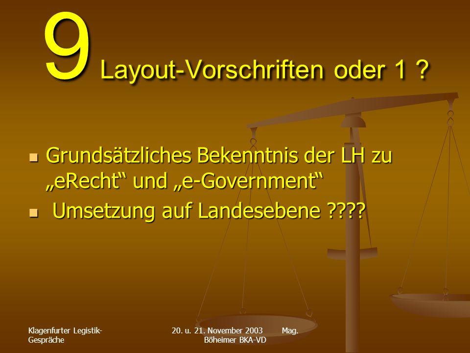 Klagenfurter Legistik- Gespräche 20. u. 21. November 2003 Mag. Böheimer BKA-VD 9 Layout-Vorschriften oder 1 ? Grundsätzliches Bekenntnis der LH zu eRe