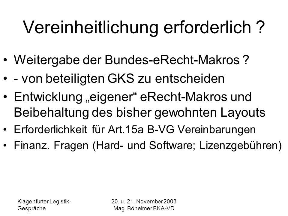Klagenfurter Legistik- Gespräche 20. u. 21. November 2003 Mag. Böheimer BKA-VD Vereinheitlichung erforderlich ? Weitergabe der Bundes-eRecht-Makros ?