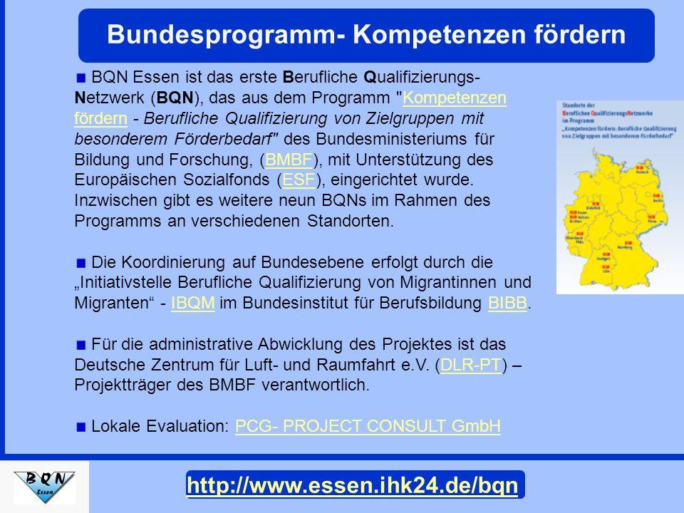 BQN Essen wird von den beiden WirtschaftsorganisationenBQN Essen Kreishandwerkerschaft EssenKreishandwerkerschaft Essen und Industrie- und Handelskammer für Essen, Mülheim an der Ruhr, Oberhausen zu Essen (IHK zu Essen) getragen.IHK zu Essen Projektträger und Projektlaufzeit BQN Essen arbeitet seit dem 1.