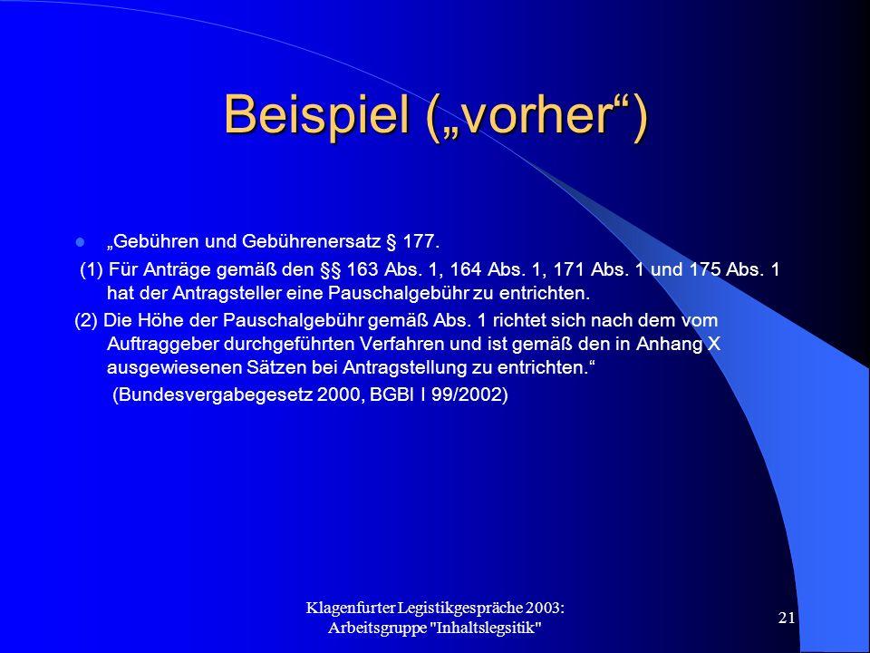 Klagenfurter Legistikgespräche 2003: Arbeitsgruppe Inhaltslegsitik 21 Beispiel (vorher) Gebühren und Gebührenersatz § 177.