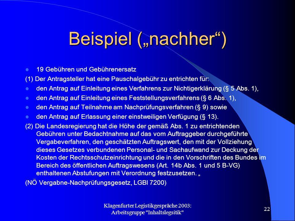 Klagenfurter Legistikgespräche 2003: Arbeitsgruppe Inhaltslegsitik 22 Beispiel (nachher) 19 Gebühren und Gebührenersatz (1) Der Antragsteller hat eine Pauschalgebühr zu entrichten für: den Antrag auf Einleitung eines Verfahrens zur Nichtigerklärung (§ 5 Abs.