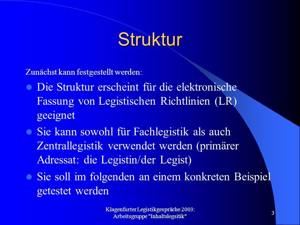 Klagenfurter Legistikgespräche 2003: Arbeitsgruppe Inhaltslegsitik 14 Check-Liste Folgende zwei Punkte wären in einer Check-Liste vorzusehen: Lese den Entwurf nochmals durch und überprüfe, ob er verständlich ist.