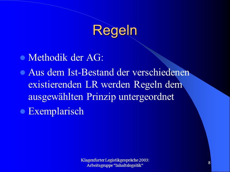 Klagenfurter Legistikgespräche 2003: Arbeitsgruppe Inhaltslegsitik 8 Regeln Methodik der AG: Aus dem Ist-Bestand der verschiedenen existierenden LR werden Regeln dem ausgewählten Prinzip untergeordnet Exemplarisch