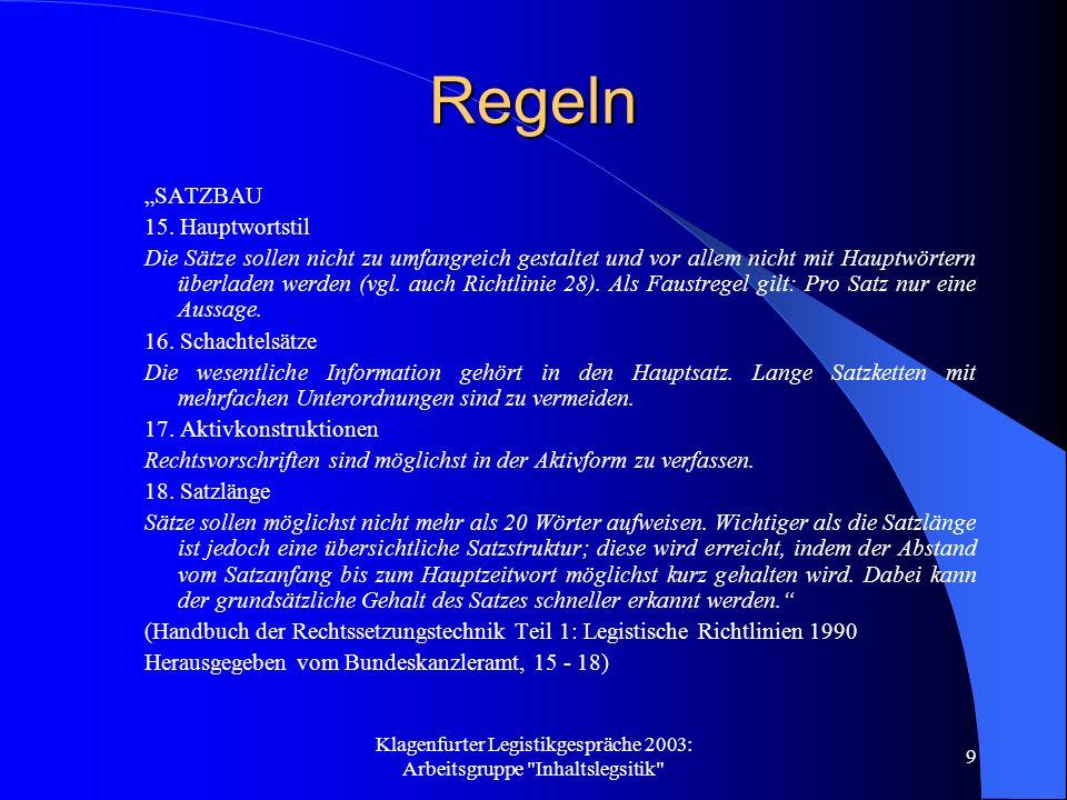 Klagenfurter Legistikgespräche 2003: Arbeitsgruppe Inhaltslegsitik 10 Regeln Rechtsvorschriften sollen sein: a) Einfach b) gut strukturiert c) Kurz und präzise (Vorschlag der AG)