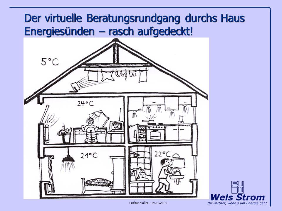 Lothar Müller 19.10.2004 Der virtuelle Beratungsrundgang durchs Haus Energiesünden – rasch aufgedeckt!