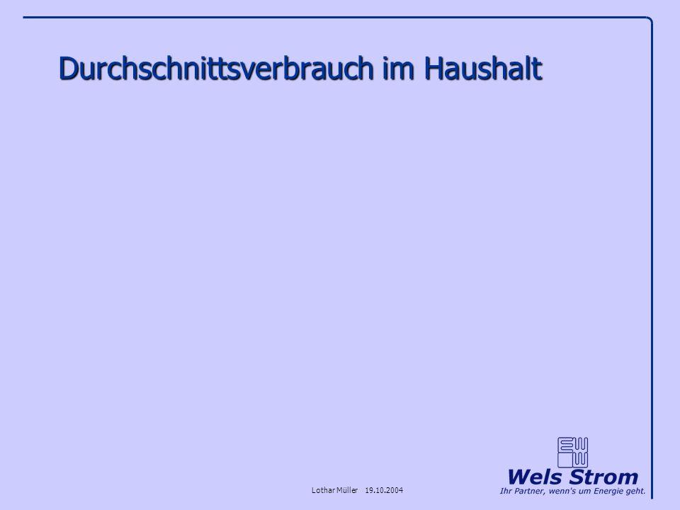 Lothar Müller 19.10.2004 Durchschnittsverbrauch im Haushalt