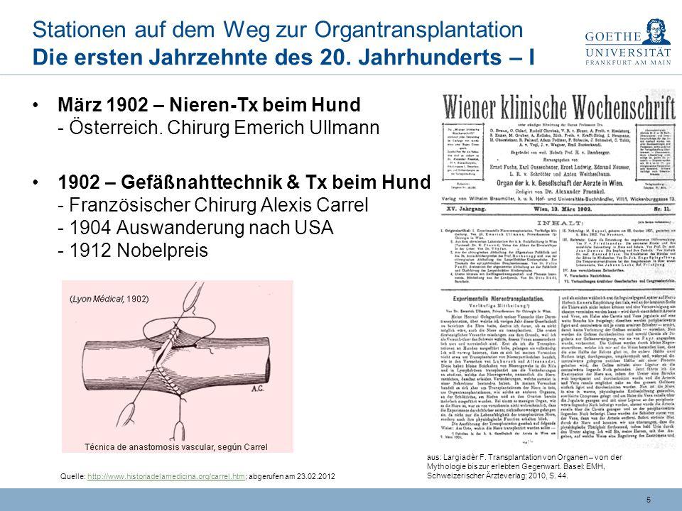 15 Problem der Abstoßung Fortschritte: Unterdrückung Immunabwehr - II … 70er Jahre: Neue Ära Ciclosporin hoch wirksames Immunsuppressivum -- hemmt Bildung von Zytokinen und Vermehrung von Lymphozyten -- Publikation 1976: Lymphozytenhemmung ca.
