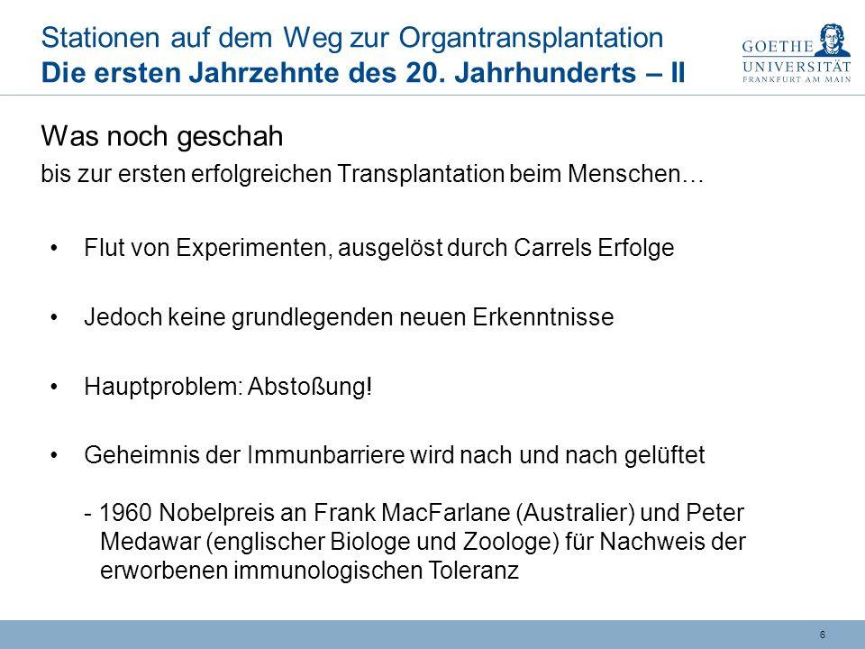 5 Stationen auf dem Weg zur Organtransplantation Die ersten Jahrzehnte des 20.