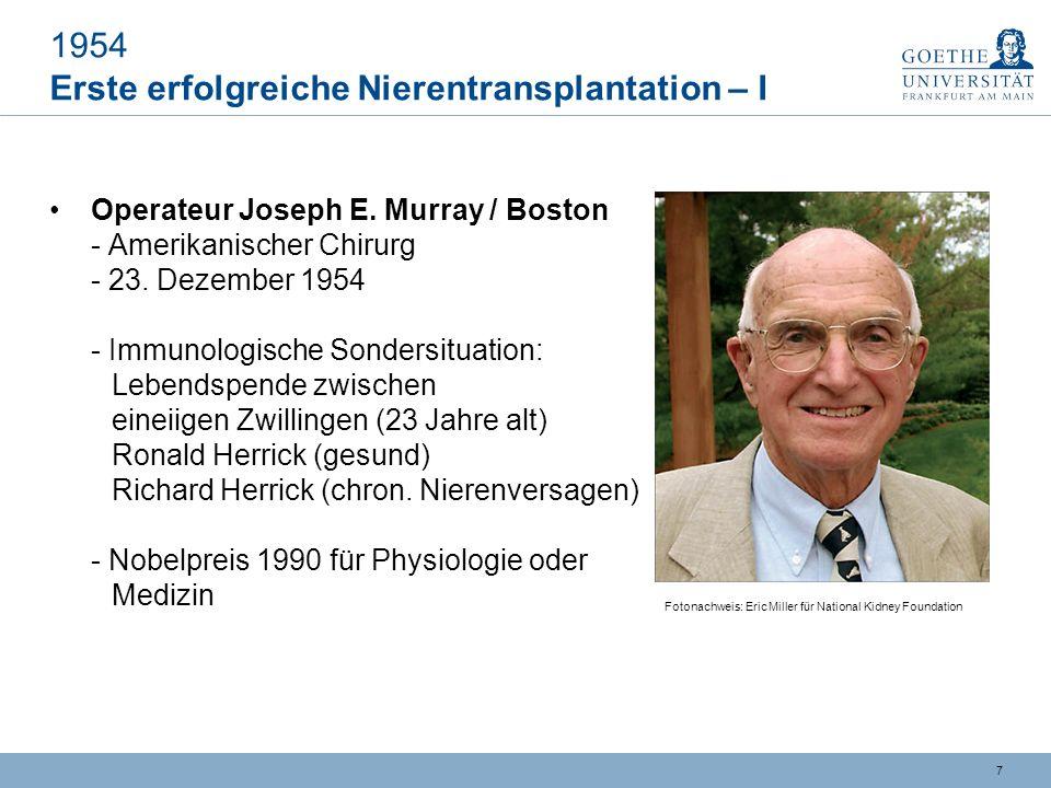 6 Stationen auf dem Weg zur Organtransplantation Die ersten Jahrzehnte des 20.