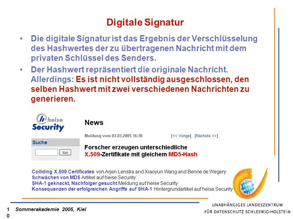 Sommerakademie 2005, Kiel10 Digitale Signatur Die digitale Signatur ist das Ergebnis der Verschlüsselung des Hashwertes der zu übertragenen Nachricht mit dem privaten Schlüssel des Senders.