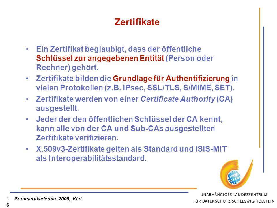 Sommerakademie 2005, Kiel16 Zertifikate Ein Zertifikat beglaubigt, dass der öffentliche Schlüssel zur angegebenen Entität (Person oder Rechner) gehört.