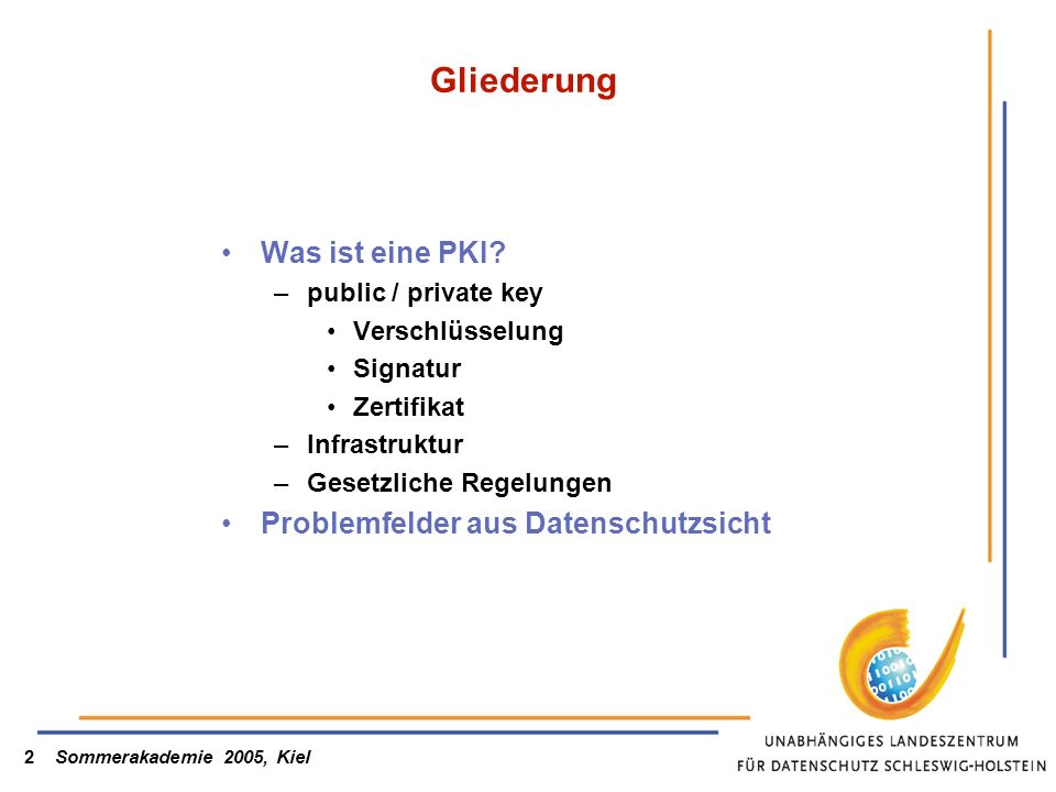 Sommerakademie 2005, Kiel2 Gliederung Was ist eine PKI? –public / private key Verschlüsselung Signatur Zertifikat –Infrastruktur –Gesetzliche Regelung