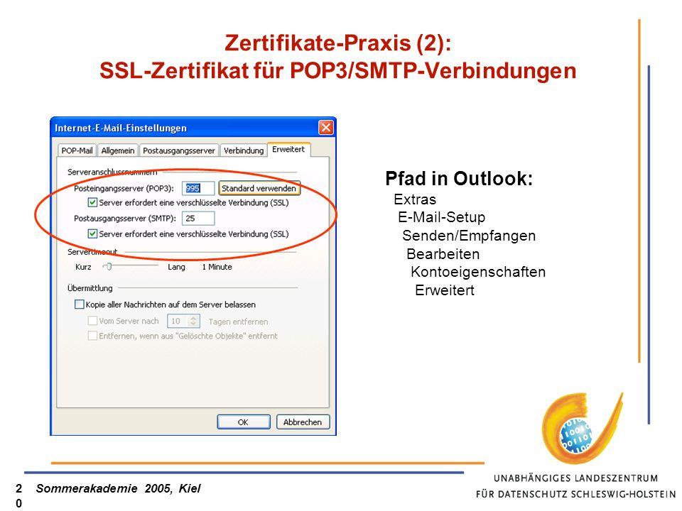 Sommerakademie 2005, Kiel20 Zertifikate-Praxis (2): SSL-Zertifikat für POP3/SMTP-Verbindungen Pfad in Outlook: Extras E-Mail-Setup Senden/Empfangen Bearbeiten Kontoeigenschaften Erweitert
