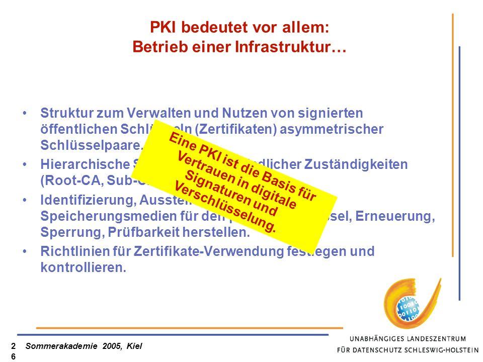 Sommerakademie 2005, Kiel26 PKI bedeutet vor allem: Betrieb einer Infrastruktur… Struktur zum Verwalten und Nutzen von signierten öffentlichen Schlüss