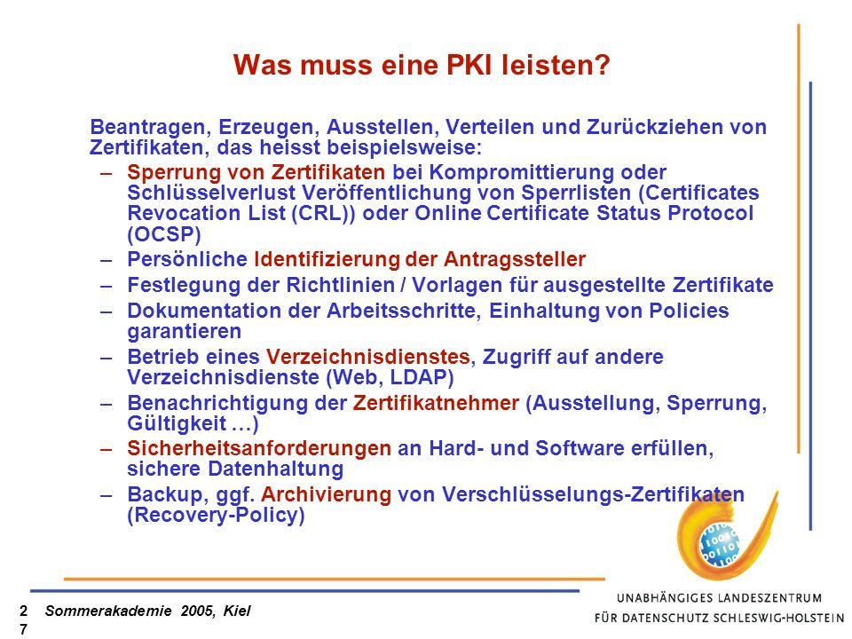 Sommerakademie 2005, Kiel27 Was muss eine PKI leisten? Beantragen, Erzeugen, Ausstellen, Verteilen und Zurückziehen von Zertifikaten, das heisst beisp