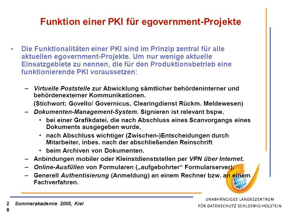 Sommerakademie 2005, Kiel28 Funktion einer PKI für egovernment-Projekte Die Funktionalitäten einer PKI sind im Prinzip zentral für alle aktuellen egov