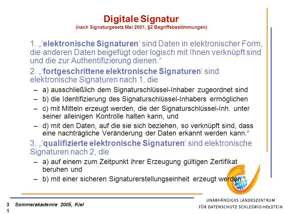 Sommerakademie 2005, Kiel31 Digitale Signatur (nach Signaturgesetz Mai 2001, §2 Begriffsbestimmungen) 1. elektronische Signaturen sind Daten in elektr