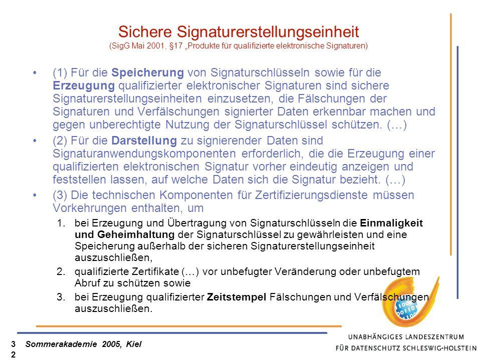 Sommerakademie 2005, Kiel32 Sichere Signaturerstellungseinheit (SigG Mai 2001, §17 Produkte für qualifizierte elektronische Signaturen) (1) Für die Speicherung von Signaturschlüsseln sowie für die Erzeugung qualifizierter elektronischer Signaturen sind sichere Signaturerstellungseinheiten einzusetzen, die Fälschungen der Signaturen und Verfälschungen signierter Daten erkennbar machen und gegen unberechtigte Nutzung der Signaturschlüssel schützen.