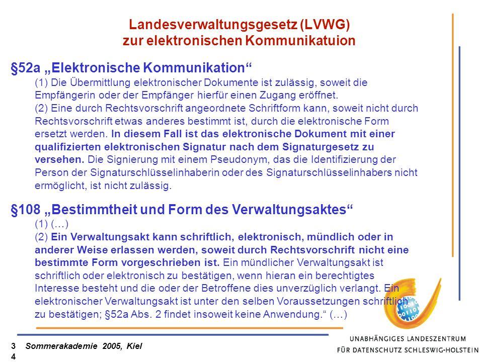 Sommerakademie 2005, Kiel34 Landesverwaltungsgesetz (LVWG) zur elektronischen Kommunikatuion §52a Elektronische Kommunikation (1) Die Übermittlung ele