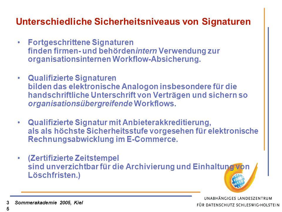 Sommerakademie 2005, Kiel35 Unterschiedliche Sicherheitsniveaus von Signaturen Fortgeschrittene Signaturen finden firmen- und behördenintern Verwendung zur organisationsinternen Workflow-Absicherung.