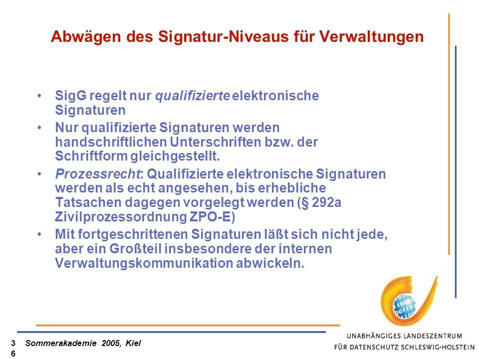 Sommerakademie 2005, Kiel36 Abwägen des Signatur-Niveaus für Verwaltungen SigG regelt nur qualifizierte elektronische Signaturen Nur qualifizierte Sig
