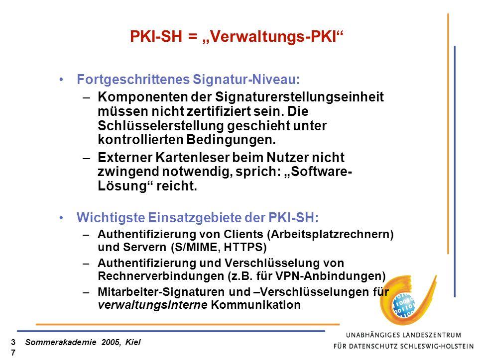 Sommerakademie 2005, Kiel37 PKI-SH = Verwaltungs-PKI Fortgeschrittenes Signatur-Niveau: –Komponenten der Signaturerstellungseinheit müssen nicht zerti